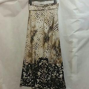 Venus Knit Mixed Print Long Maxi Skirt